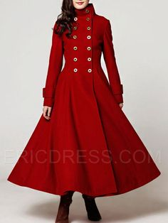 Long red cashmere dress coat big sweep women wool winter coat long ...