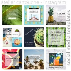 TEMPLATES: Instagram Templates Tropical summer template Instagram Templates, Summer Special, Business Profile, Social Media Template, Instagram Accounts, Summer Time, Compliments, My Design, Tropical