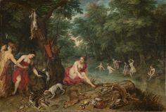 Nombre: Baño de Ninfas (las ninfas de Diana Regresando de la pesca) Burguel I, Jon Bolen, Hendick  Siglo: XVII Género: Mitológico   Técnica: Óleo   Objeto: Pintura   Medidas: 58,5 x 85,5 Cm