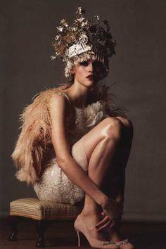 Vera Wang dress. Basia Zarzycka feather wrap. VV Rouleaux headpiece.