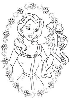 Princess Belle Love To Get Gifts In Christmas Day Coloring Pages - Christmas Coloring Pages : KidsDrawing – Free Coloring Pages Online
