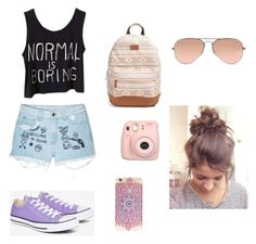 """Casual Day With The Bestie"" by lauren-25ellis on Polyvore featuring Aloha From Deer, Rip Curl, Converse, Ray-Ban and Fujifilm"