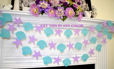 Seashell and starfish garland, under the sea, nautical wedding, birthday decorations, purple teal Beach decor, mermaid beach garland by DCBannerDesigns on Etsy https://www.etsy.com/listing/259766636/seashell-and-starfish-garland-under-the