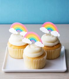Free Printable Rainbow Cupcake Toppers