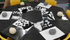 """Amazing study of the difference between white and black.  Introduction of the concept """"contrast"""" using playdough and found objects."""