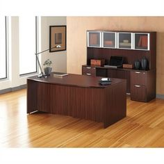 Valencia Laminate Bow Front Desk With Credenza And Hutch Alternative Office Solutions 408 776