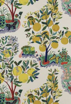 Fabric for Main House Color Story (use it in Sunroom or Living Room | Citrus Garden in Primary | Schumacher