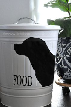 Create your own pet food storage containers with an #IKEA trashcan and #Silhouette machine! Perfect storage solution for your #pets via www....