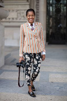 STREET STYLE SPRING 2013: PARIS FASHION WEEK - Tamu McPherson's stripes and florals are well-tailored.