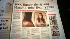 Miss beautygloss in de krant. Algemeen dagblad 3 mei 2014.