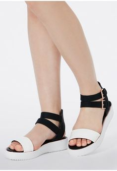 Ashina Contrast Buckle Detail Flatforms - Footwear - Sandals - Missguided