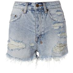 Ksubi Women's Tongue And Cheek Cut Off Shorts (720 RON) ❤ liked on Polyvore featuring shorts, denim, denim cut-off shorts, cutoff shorts, light blue jean shorts, denim short shorts and light blue shorts