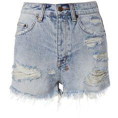 Ksubi Women's Tongue And Cheek Cut Off Shorts (540 BRL) ❤ liked on Polyvore featuring shorts, denim, cut off shorts, cutoff shorts, light blue shorts, short jean shorts and cut-off jean shorts