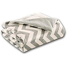 "Luxurious Grey and White Oversized Chevron Throw Blankets 60"" x 70"" Super Comfy, Soft and Plush"