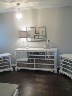 Mirrored Dresser and 2 Matching Nightstands Pure White, Mirrored Bedroom Set, Annie Sloan pure white chalk paint