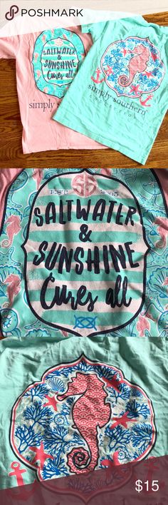 Bundle: two simply Southern t-shirts Pink and teal simply Southern t-shirts. More work than the other two, but still have good use in them. In good condition. Simply Southern Tops Tees - Short Sleeve