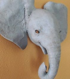 Baby African Elephant Wall Sculpture Pattern – Ultimate Paper Mache