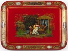 Chinoiserie Tole Tray  early 19th century, decorated with Oriental garden and figural scene