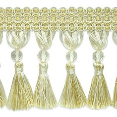 IR6891 DLC Ivory Light Gold Tassel Trim - SW48778 - | Discount By The Yard | Fashion Fabrics