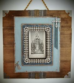 This beautiful rustic/chic shrine to the Virgin Mary features a very sweet depiction of the Immaculate Conception in an antique holy card dated 1868!  Trimmed in antique French metallic ribbons and a vintage Miraculous Medal
