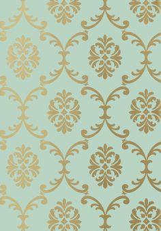 Bastille Wallpaper A wallpaper printed with a scrolling trellis design in metallic gold on seafoam.