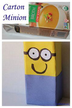 Milk/Juice carton Minion Craft! Very simple make with kids.