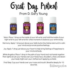 The Great Day Protocol using Young Living essential oils. Developed by D. Gary Young, this is the real deal right here! Valor Essential Oil, Citrus Essential Oil, Essential Oil Blends, Young Living Oils, Young Living Essential Oils, Young Living Valor, Yl Oils, Tamanu Oil, Rosehip Oil