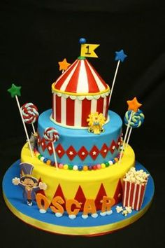 Ooh, a circus cake... I can almost smell the cotton candy!