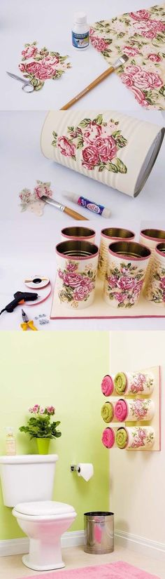 Spray paint a tin can; add paper napkins, mod podge, glue gun & pretty ribbon.