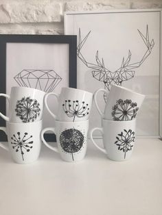 Set of 6 pieces of cups hand-painted series by MadeWithLovePoland