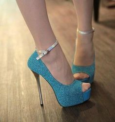 Stiletto High Heels Party Shoes, Blue