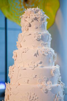 White on white classic five tier round wedding cake. Photo by Scott Hagar Photography. www.wedsociety.com #weddingcake #cake
