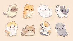 Cute Kawaii Animals, Cute Animal Drawings Kawaii, Cute Little Drawings, Cute Little Animals, Cute Cartoon Animals, Chibi Cat, Cute Chibi, Griffonnages Kawaii, Kawaii Illustration