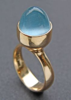GEORG JENSEN Modernist Ring Gold Aquamarine Marks: 'BGP' 'GJLd' '585' 'Denmark' Import mark for 1972.  Sigh.