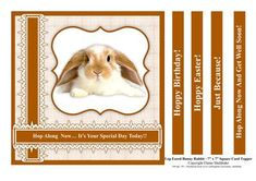 "Lop Eared Bunny Rabbit 7 x 7 Card Topper With 5 Greetings on Craftsuprint designed by Elaine Sheldrake - This fun 7"" x 7"" card topper is great for anyone who loves bunny rabbits and it can be made smaller simply by using your printer's software making it suitable for easel cards as well. The greetings included are as follows: Happy Birthday! ... Hop Along Now It's Your Special Day Today!! ... Hoppy Easter! ...Hop Along Now And Get Well Soon!...and ... Just Because! - Now available for…"