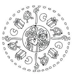 Kleurplaat: Sinterklaas en Zwarte Piet mandela.