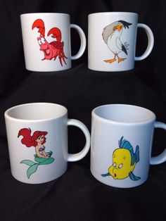 Little Mermaid mugs melamine plastic 1991 Disney Channel Set 4 ariel Sebastian in Toys & Hobbies, TV, Movie & Character Toys, Disney | eBay