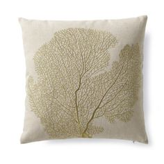 Set of Two Green Fan Coral Throw Pillows