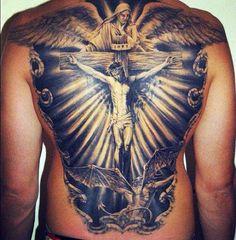 Full back Jesus on the cross tattoo