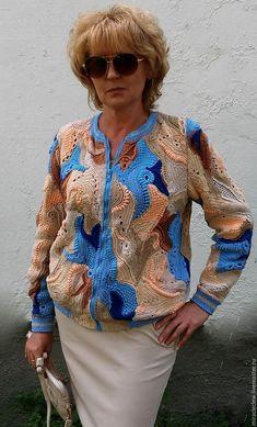 Купить Вязаная крючком куртка-бомбер в стиле фриформ - комбинированный, фриформ, пэчворк, бохо, мультиколор