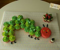 The very very hungery caterpillar cupcakes. We all know who this is, maybe use this at a kindergarten party?