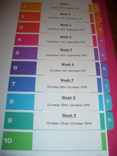 Weekly lesson plan tabs for each quarter  organiza a binder once I am at a school and grade level for a few years