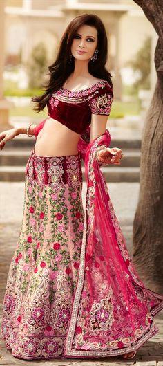 100194, Wedding Lehngas, Bridal Lehenga, Net, Velvet, Thread, Zircon, Swarovski, Machine Embroidery, Cut Dana, Resham, Stone, Zari, Pink and Majenta Color Family