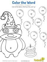 "Color all the balloons that have the word ""up."" #coloringpages #prek #ece"