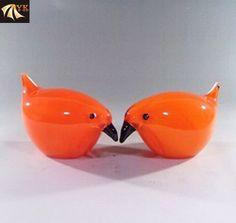 Murano Glass Orange Lovely Animal Birds