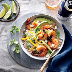 Shrimp and Bean Burrito Bowl | MyRecipes  Sweet chili sauce makes the perfect instant glaze on the shrimp in this fantastic recipe.
