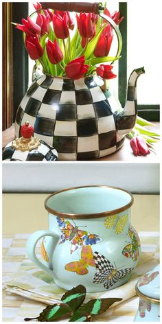 Tori's Friday Favorites - @mackenziechilds  Courtly Check Enamel Tea Kettle & Butterfly Garden-Sky Enamel Mugs. Comment to win, share or repin for additional chances!