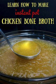 This Instant Pot Chicken Bone Broth is super quick and easy to make in the Instant Pot and just so rich nourishing amazingly delicious and HEALTHY! I can't express how easy and awesome this chicken bone broth recipe is. Rich flavorful & incredibly he Slow Cooker Bone Broth, Bone Broth Soup, Making Bone Broth, Instapot Bone Broth, Bone Broth Crockpot, Slow Cooker Chicken Broth, Chicken Bone Broth Recipe, Make Chicken Broth, Chicken Broth Recipes