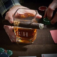 This isn't your ordinary whiskey glass. Our engraved whiskey glass cigar holder enables you to both smoke a stogie and sip bourbon with one hand! Cigar Gifts, Whiskey Gifts, Cigars And Whiskey, Scotch Whiskey, Bourbon Gifts, Bourbon Drinks, Irish Whiskey, Bourbon Whiskey, Gifts For Husband