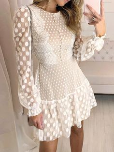 White Lace Mini Dress, Lace Dress With Sleeves, Short Mini Dress, Long Sleeve Mini Dress, Short Dresses, Lace Party Dresses, Elegant Dresses, Mini Dresses, Club Dresses